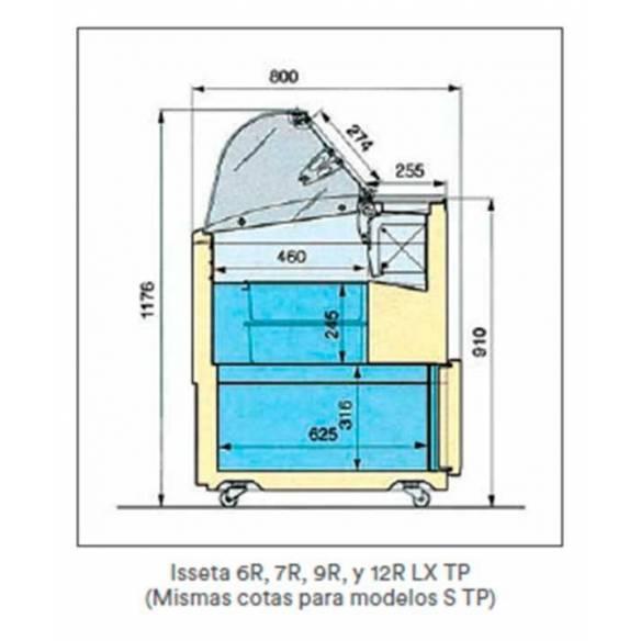 Vitrina Expositora Heladería ISETTA 7R LX TP Cristal Curvo-Z0152FIS0462