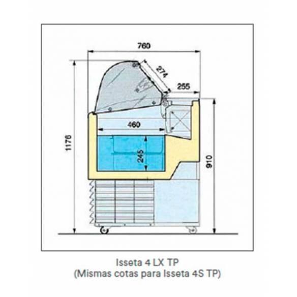 Vitrina Expositora Heladería ISETTA 4 STP Cristal Recto-Z0152FIS0402