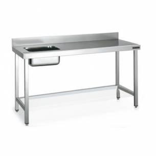 Mesa de acero inoxidable chef cubeta izquierda sin estante fondo 600 (Varias Medidas)