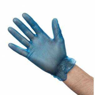 Guantes de vinilo empolvados Vogue azules L (Pack de 100)-Z093CB254-L