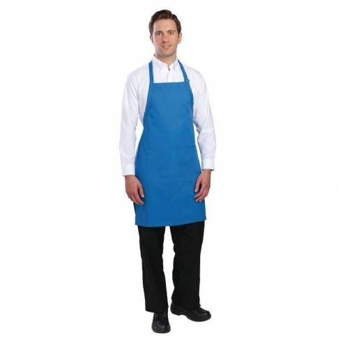 Delantal con peto Chef Works cuello ajustable azul-Z093B193