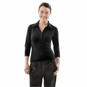 Camisetas femeninas con cuello en V negras Uniform Works-Z093B038-L