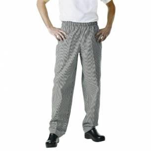 Pantalón Easyfit cuadros pequeños negros y blancos Chef Works S-Z093A026-S