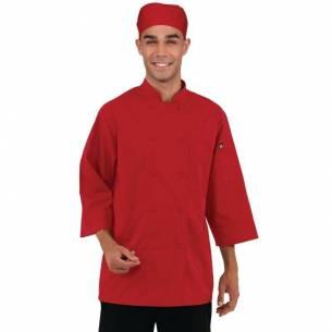 Chaqueta de cocina manga tres cuartos roja Chef Works-Z093B106-XL