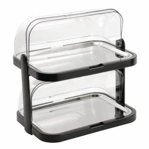 Bandeja refrigeradora con fondo doble con tapa móvil
