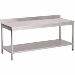 Mesa de cocina Gastro M acero inoxidable con estante inferior y peto 1800mm-Z093GN136