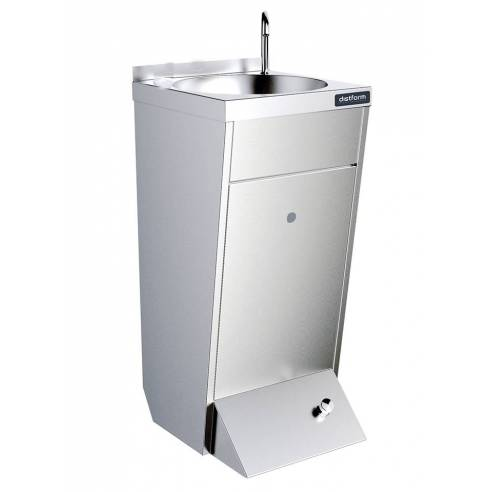 Lavamanos con pedestal un pulsador agua fría y caliente caño giratorío