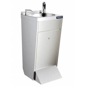 Lavamanos industrial de pie con grifo electrónico y dispensador de jabón