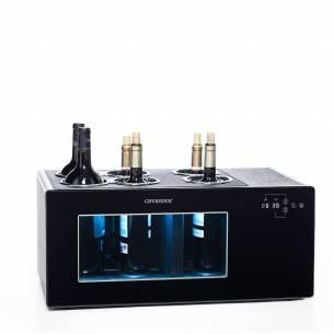 Enfriador de vino Cavanova OW6CS para sobremesa 6 botellas grandes doble temperatura