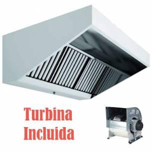 Campana Extractora Industrial Slim Techo Bajo Acero Inoxidable Fondo 800 Con Turbina-Z096CMSLBT80