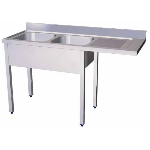 Fregadero lavavasos/lavaplatos con 2 cubas y escurridor 1400x600 mm
