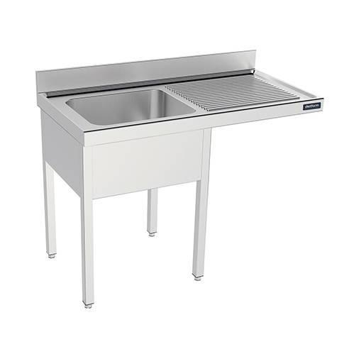 Fregadero industrial con bastidor para lavavajillas 1 cubeta y 1 escurridor Fondo 550