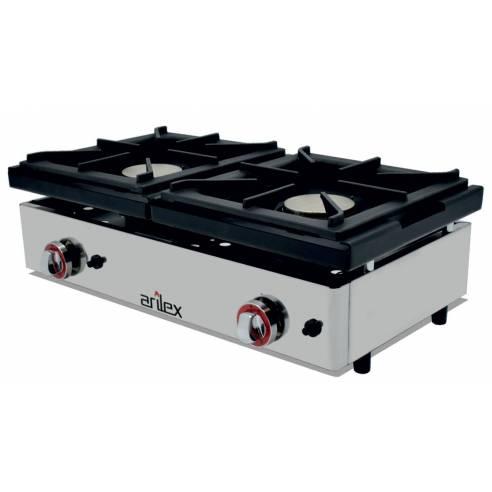 Cocina gas industrial 2 fuegos Arilex 80CG - 80x40 cm
