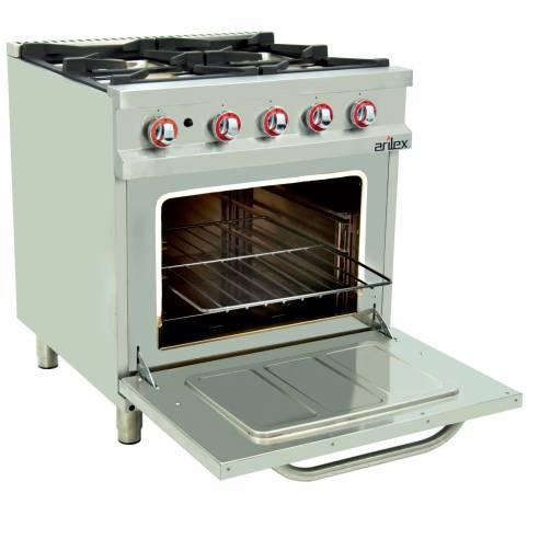 Cocina a gas con horno 4 fuegos Arilex EASY 80CG70H 33,5 Kw 800 x 750 x 900 mm
