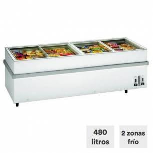 Congelador horizontal grande 480 litros tapa cristal corredera 750 CHV/V