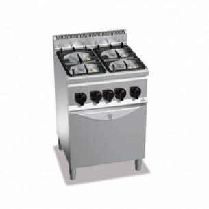Cocina BERTOS de gas de 4 fuegos + Horno eléctrico GN 1/1