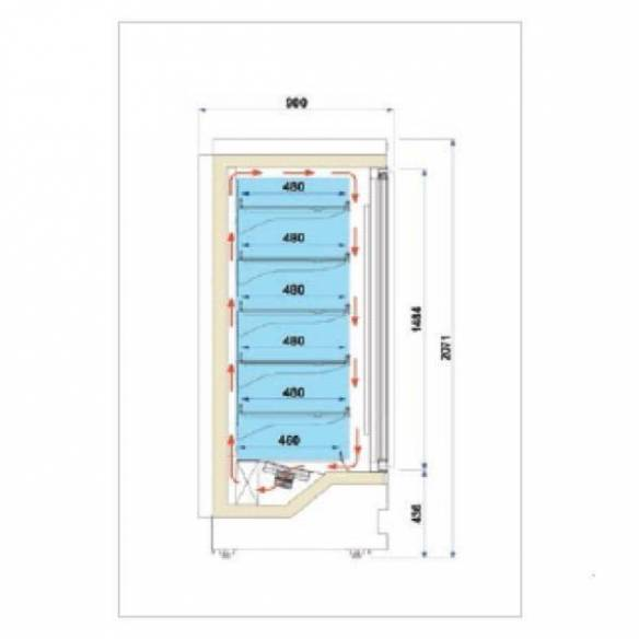 Vitrina mural refrigerada baja temperatura Blizzard 1P-Z0150LIS1050