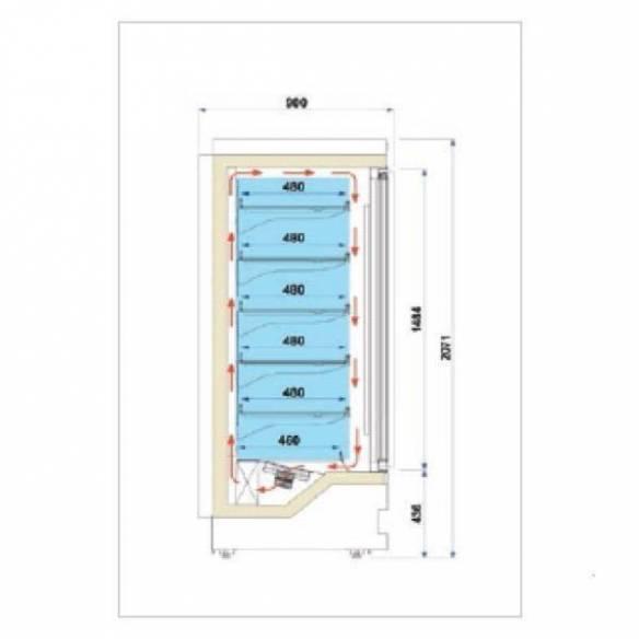 Vitrina mural refrigerada baja temperatura Blizzard 3P-Z0150LIS1052