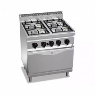Cocina BERTOS 4 fuegos + Horno eléctrico GN 1/1