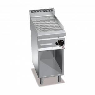Plancha fry-top BERTOS 400 acero rectificado a gas - placa acanalada + Mueble-Z005G7FR4M