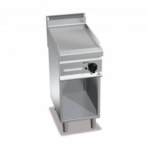 Plancha fry-top BERTOS 400 acero rectificado eléctrica - placa acanalada + Mueble-Z005E7FR4MP