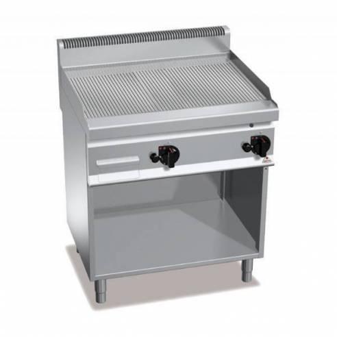 Plancha fry-top BERTOS 800 acero rectificado a gas - placa acanalada + Mueble-Z005G7FR8M-2