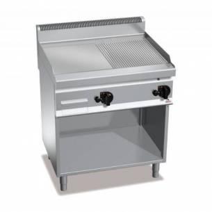 Plancha fry-top BERTOS 800 acero rectificado a gas - placa lisa/acanalada + Mueble-Z005G7FM8M-2