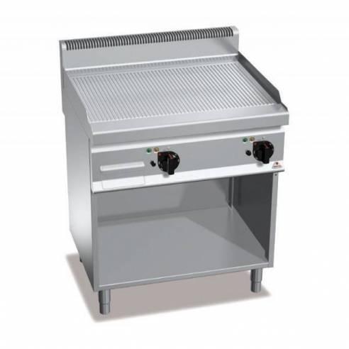 Plancha fry-top BERTOS 800 acero rectificado eléctrica - placa acanalada + Mueble-Z005E7FR8MP-2