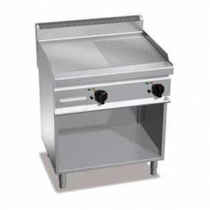 Plancha fry-top BERTOS 800 acero rectificado eléctrica - placa lisa/acanalada + Mueble-Z005E7FM8MP-2