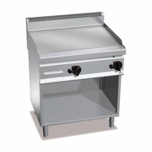 Plancha fry-top BERTOS 800 cromo duro a gas - placa lisa + Mueble-Z005G7FL8M-2/CR
