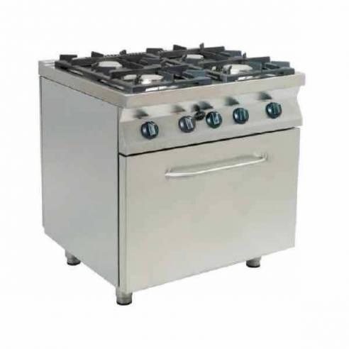 Cocina de gas industrial ntgas eco fast 4fh 4 fuegos horno for Cocinas economicas a gas
