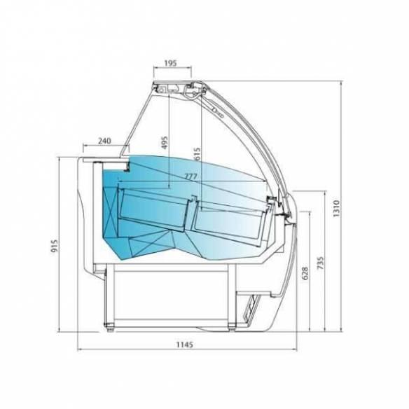 Vitrina expositora de helados Infrico Aries VAR 15H cristal curvo-Z017VAR15H