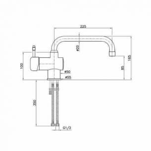 Grifo monomando pequeño 2 aguas Edenox GM-CB-16 E caño giratorio especial bajo barra
