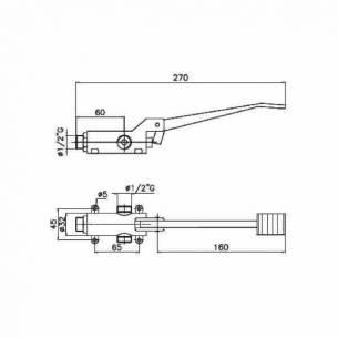 Grifo de pedal 2 aguas montaje en suelo Edenox G1P2S E