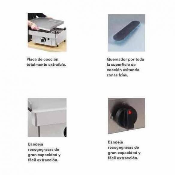 Plancha a Gas de Acero Laminado 6 mm. Arilex 100PGL (100x40 cm)-Z085100PGL