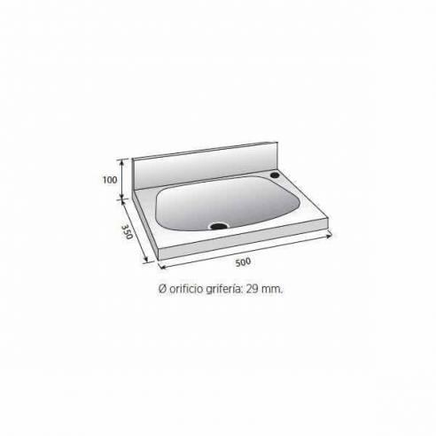 Lavabo acero inoxidable grande Edenox LB-535 - Sujeción pared-Z0091426104