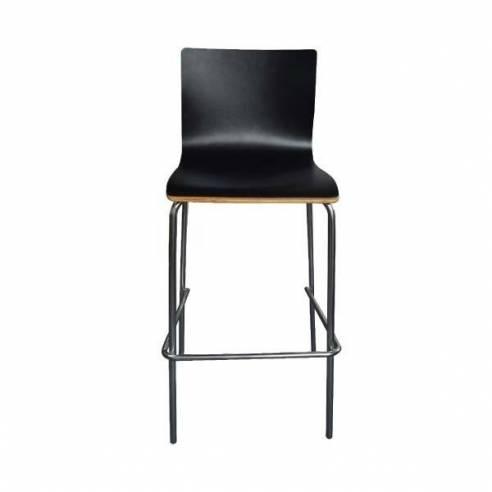 Taburete alto de bar Turin - Asiento madera - Negro-Z052164689
