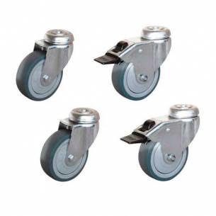 Conjunto 4 ruedas para mesa de acero inoxidable serie ECO