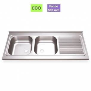 Fregadero industrial acero inox 2 senos con escurridor - Fondo 50 cm