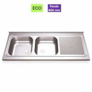 Fregadero industrial acero inox 2 senos con escurridor - Fondo 60 cm