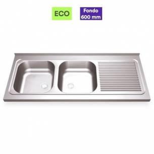 Fregadero industrial acero inox 2 senos con escurridor - Fondo 70 cm
