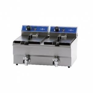 Freidora Iindustrial Eléctrica doble con grifo Irimar FRY-13+13