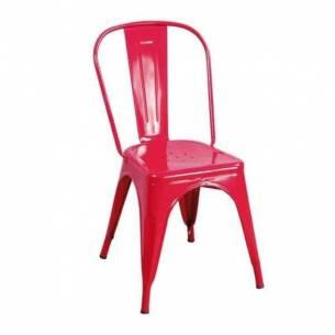 Silla vintage metálica Tolix - Color rojo