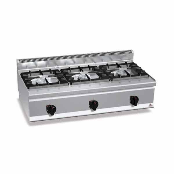 Cocina de gas sobremesa bertos g6f3bh12 3 fuegos serie 600 for Cocina 3 fuegos sobremesa