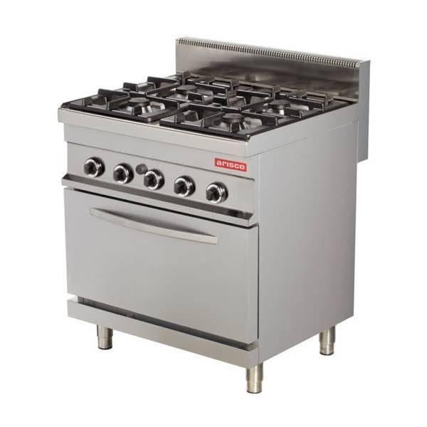 Cocina gas industrial 4 fuegos con horno gas gn1 1 arisco for Cocina 4 fuegos con horno a gas