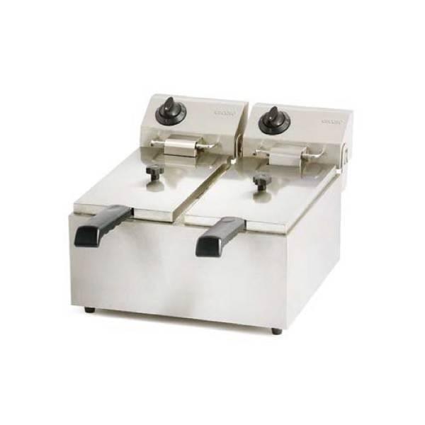 Freidora eléctrica industrial doble cesta 6+6 litros FRIN19 serie eco sin grifo vaciado