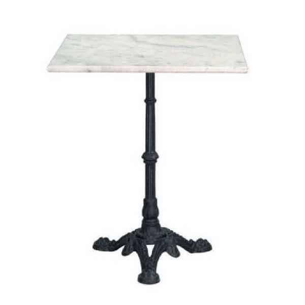 Mesa de m rmol cuadrada 60 x 60 cm con pie de hierro for Mesa 60 x 60 extensible
